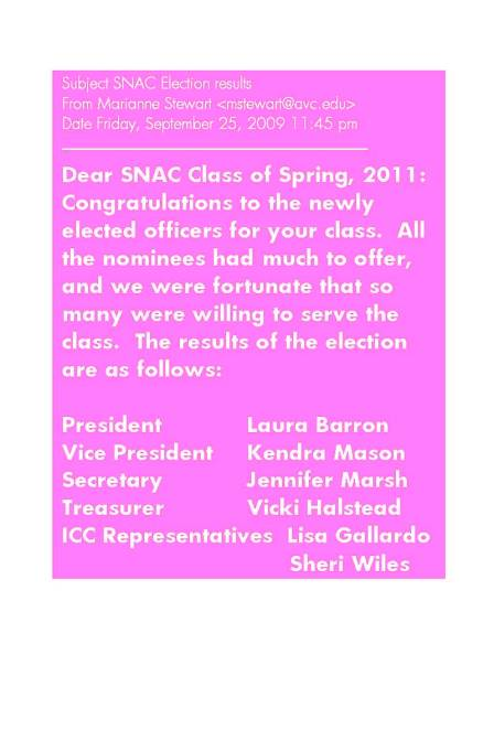 Subject SNAC Election results